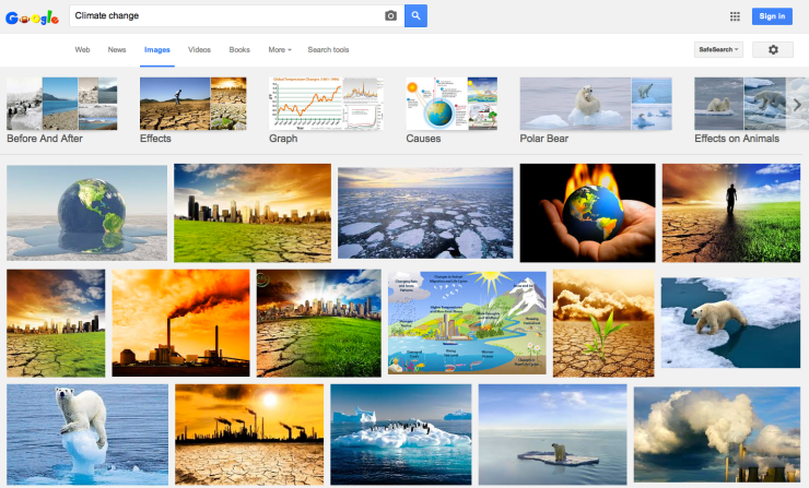 Climate change image search